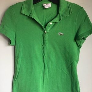 Lacoste women's polo T shirt green size 36/S